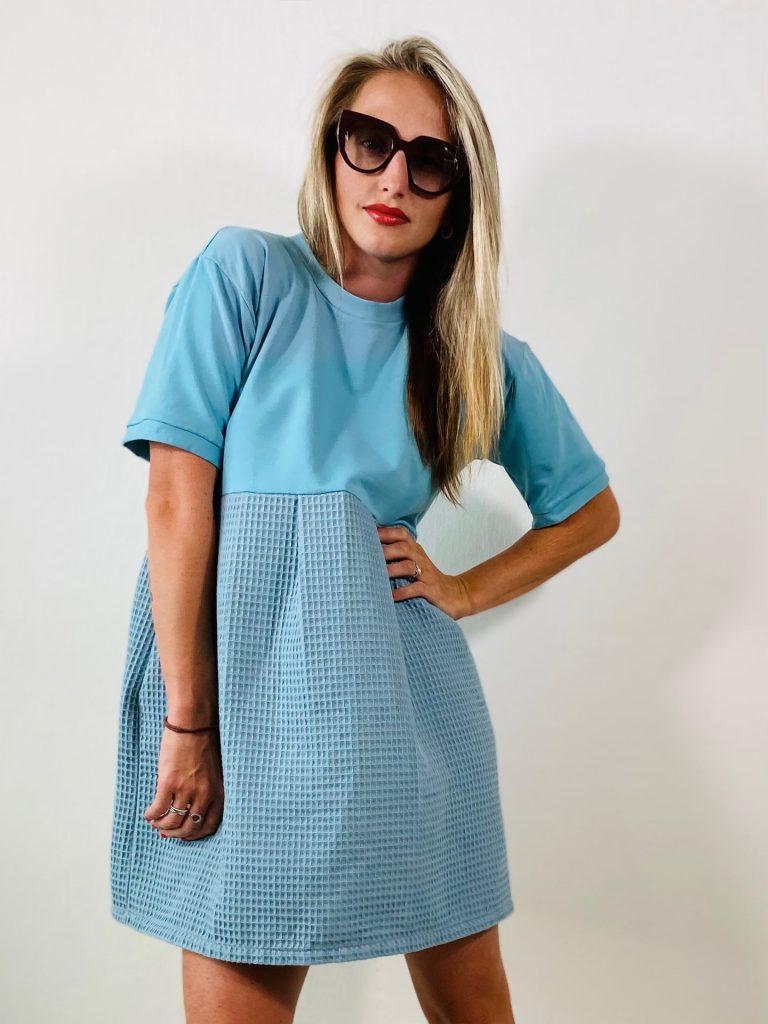 "Šaty ""WAFFLE"" modro-modré"