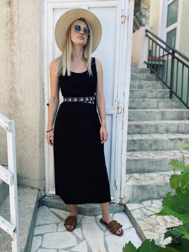 """Šaty černé """"LINES"""""""